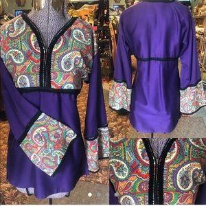 60's Vntg Purple Hippie | Boho Top | Size S